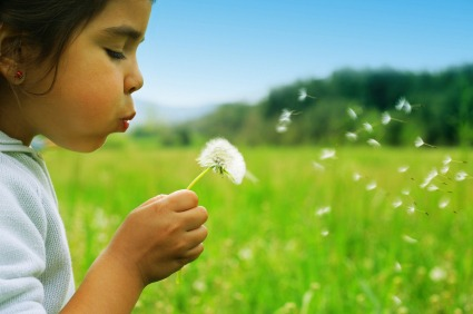 Picture of a young girl blowing seeds off a flower | NLP World.