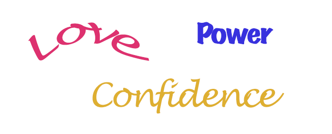 words in colour, love power confidence