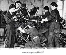 women repairing aircraft engines